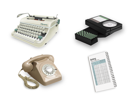 Old fashioned items - Typewriter, Cassette, Telephone, Torque Tables