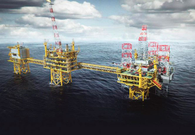 Oil rig in ocean - Total Culzean