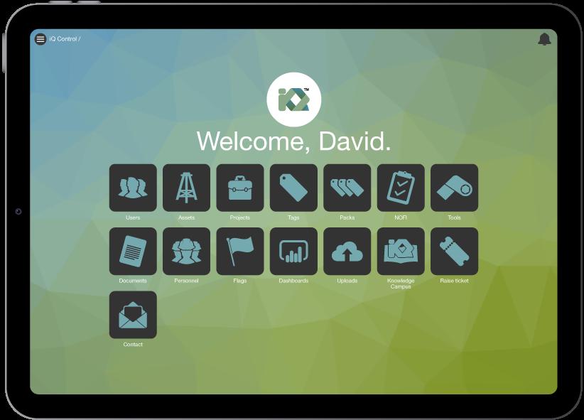 iQ Control on an iPad tablet
